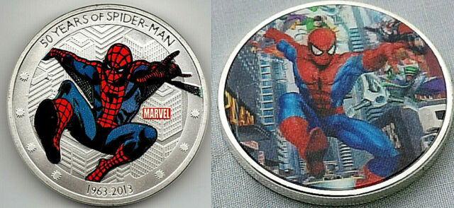 Spider man Silver 3D Coin Hologram Super Heros Marvel DC Comics Avengers Amazing