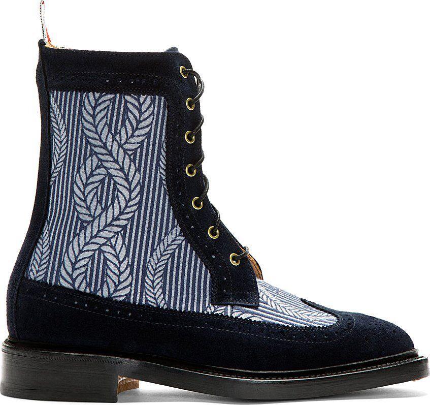 Nueva con caja Thom marróne punta del ala azul Suede botas con cordones cuerda del ancla EE. UU. 12 Reino Unido 2