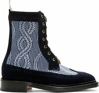 Nwb Thom Browne Wingtip Blue Suede Anchor Rope Lace Up Boots Us 12 Uk 2