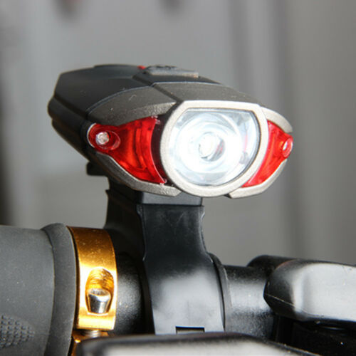 Bicycle Solar Headlight Warn Tail Light Rechargeable Safe Bike Rear Lamp LN