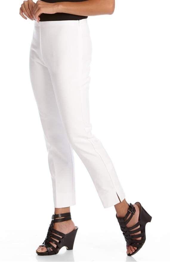 Karen Kane Women's White Stretch Woven Capri Pants Sz 2  88