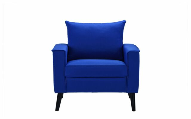 Mid Century Fabric Chair Linen Living Room Accent Chair Blue