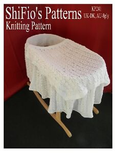 KNITTING PATTERN for BLANKET MOSES BASKET COVER #241 by shifio patterns eBay