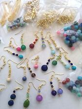 BUDGET JEWELLERY MAKING KIT MAKES 15 PAIRS REAL GEMSTONE/GOLD PLATE EARRINGS