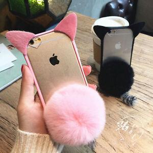 iPhone 7 7plus Womens Girls Cute 3D Fur Ball Cat Ears Clear TPU Case ... b1edcd30da