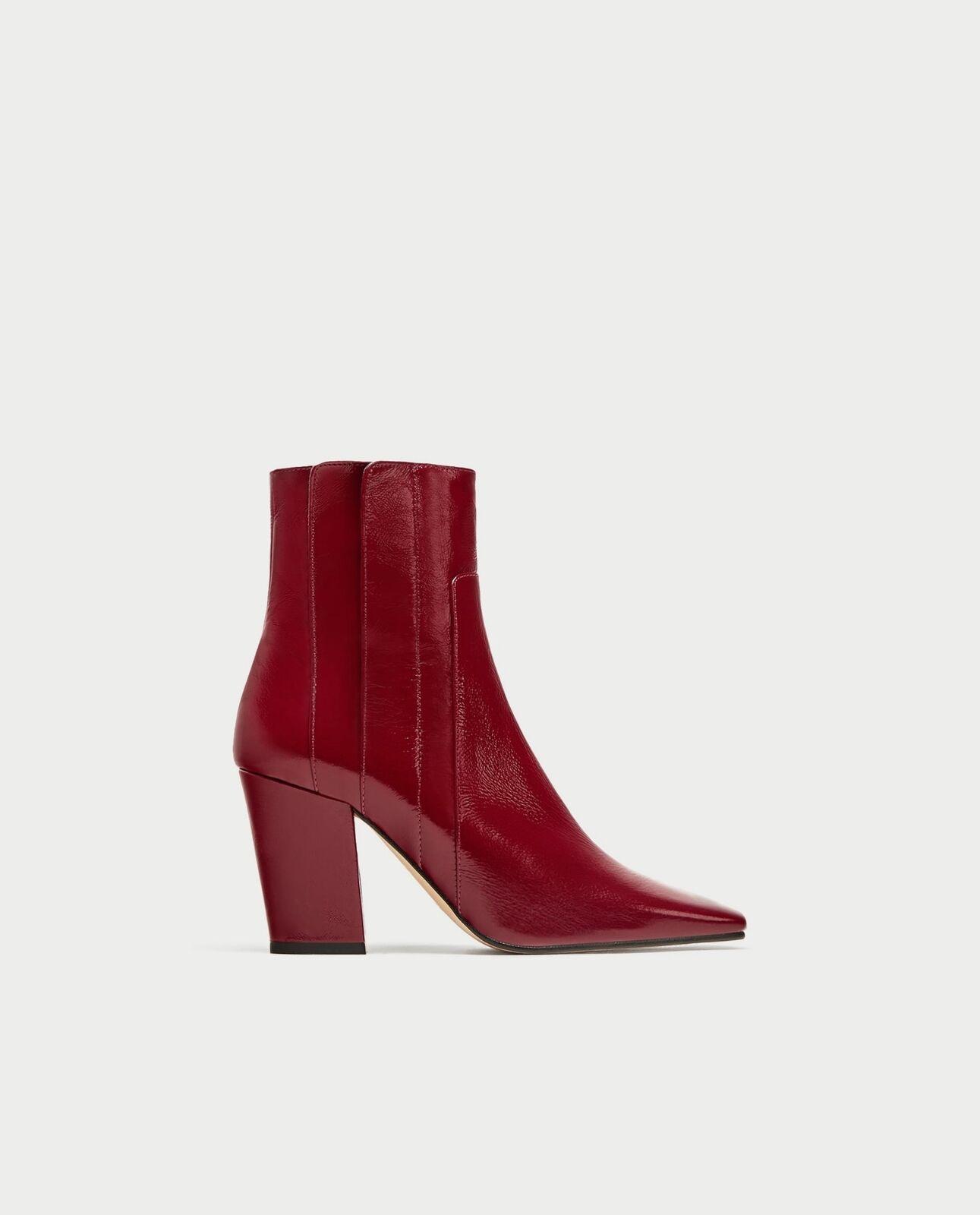 BNWT ZARA Leather High Heel Ankle  stivali..40 UK 7 US 9 REF.6900  201  disponibile