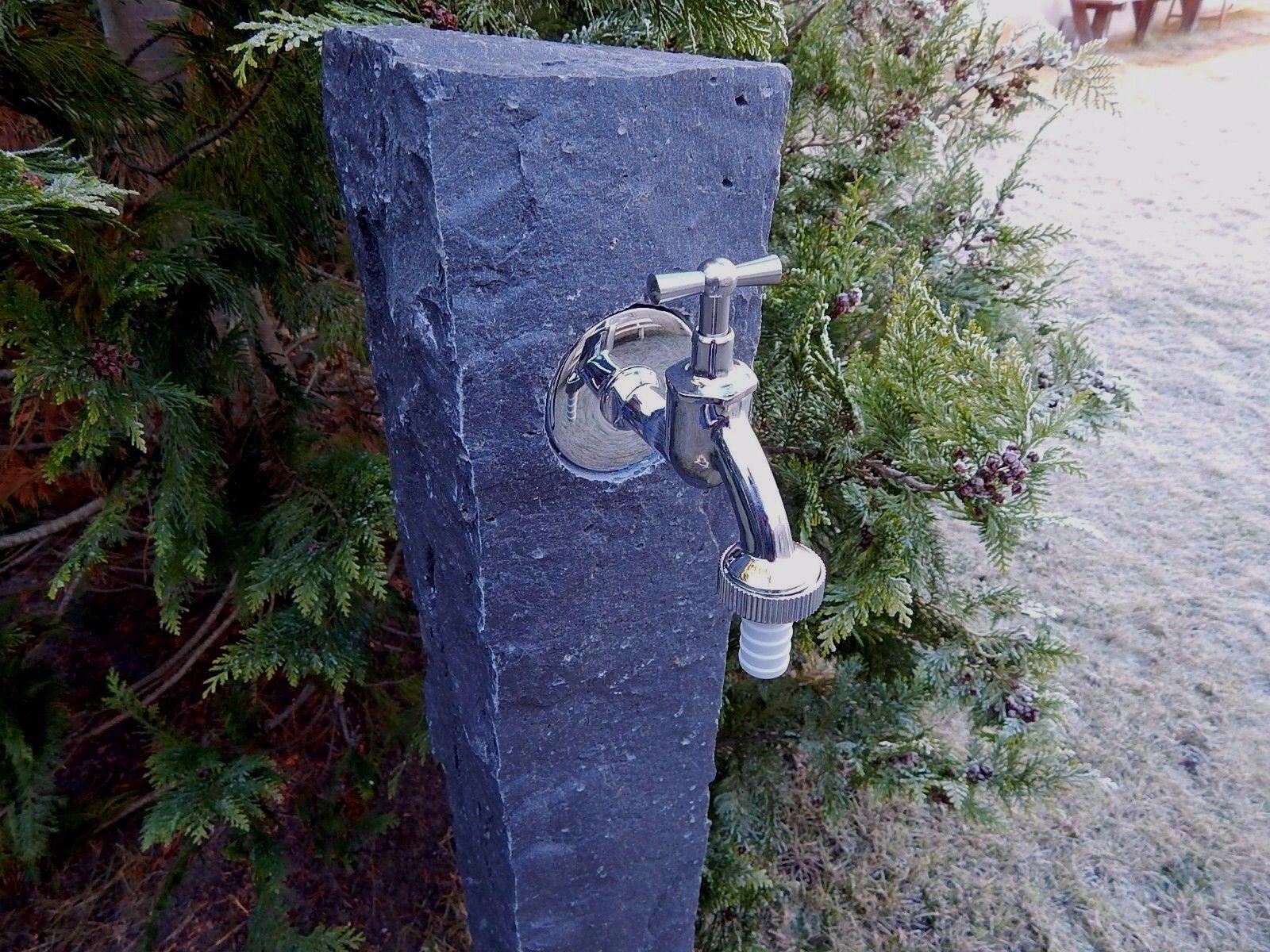 Wasserzapfsäule aus Basalt mit 1 Zapfstelle  Palisade Stele Wasserzapfstelle