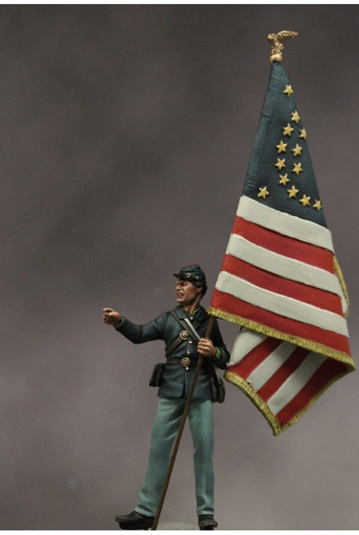 Union standard bearer at Battle of Gettysburg 54mm Tin Painted Toy Soldier   Art