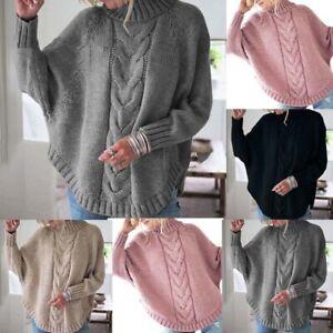 Mode-Femme-Confor-Simple-Pull-Hiver-Chauve-souris-Manche-Longue-Col-Haut-Plus
