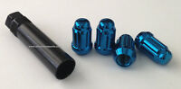 4) Replacement Spline Drive Lug Nut & 1 Tool Key 12x1.25 Blue Free Shipping