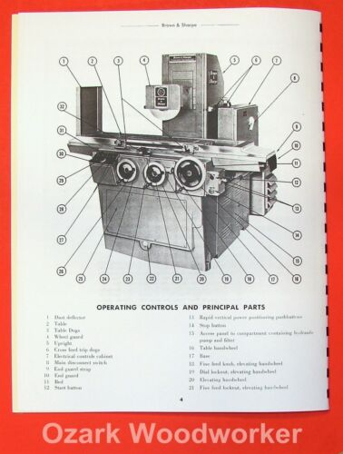 BROWN /& SHARPE Micromaster Surface Grinders Operator Manual 0095