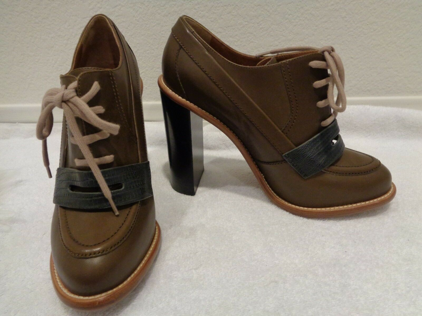 Chloe Tan Leather Lace Up Oxford Ankle Ankle Ankle Bootie Heels shoes EU40 US9.5  1195 ed9347
