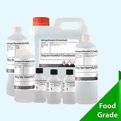 Hydrogen Peroxide 3% FOOD GRADE  Choose Pack Size 50ml - 2 Litre[500ml][1 Litre]