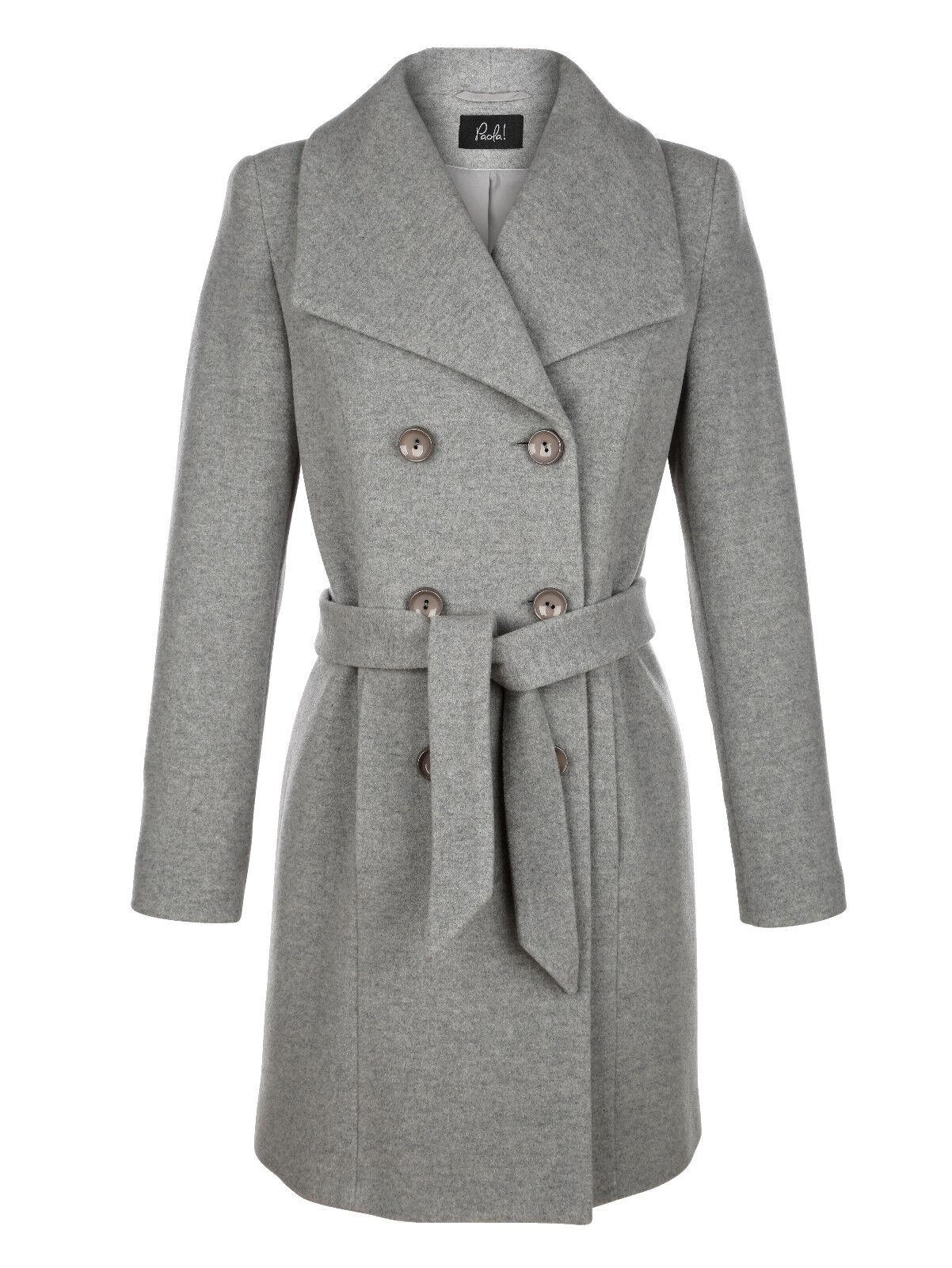 Marken Woll Mantel mit Kaschmir grey-meliert Gr. 48 0618797447