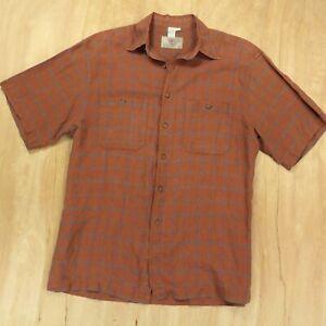 the-TERRITORY-AHEAD-linen-silk-blend-short-sleeve-shirt-LARGE-brown-plaid