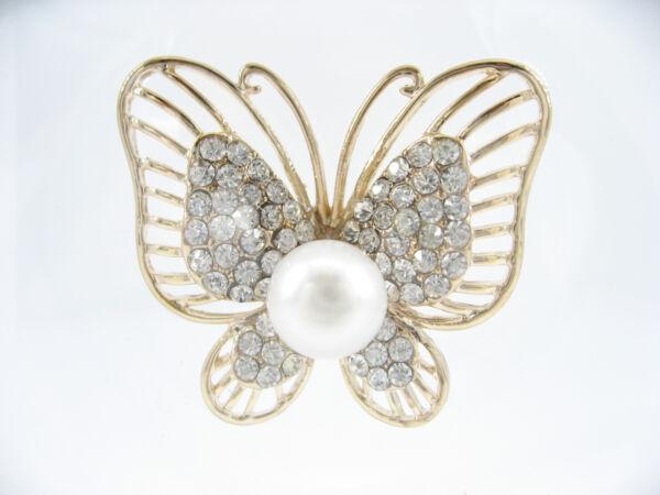 18k Gold Plated White Cultured Freshwater Pearl Butterfly Brooch Corsage Present MöChten Sie Einheimische Chinesische Produkte Kaufen?