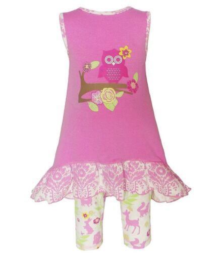 Girls ANN LOREN pink owl outfit 12-18-24 2T 3T NWT woodland shirt ruffles deer