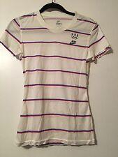 Nike Olympic T-shirt White red blue  Women's Small 4-6 Bonus Bag