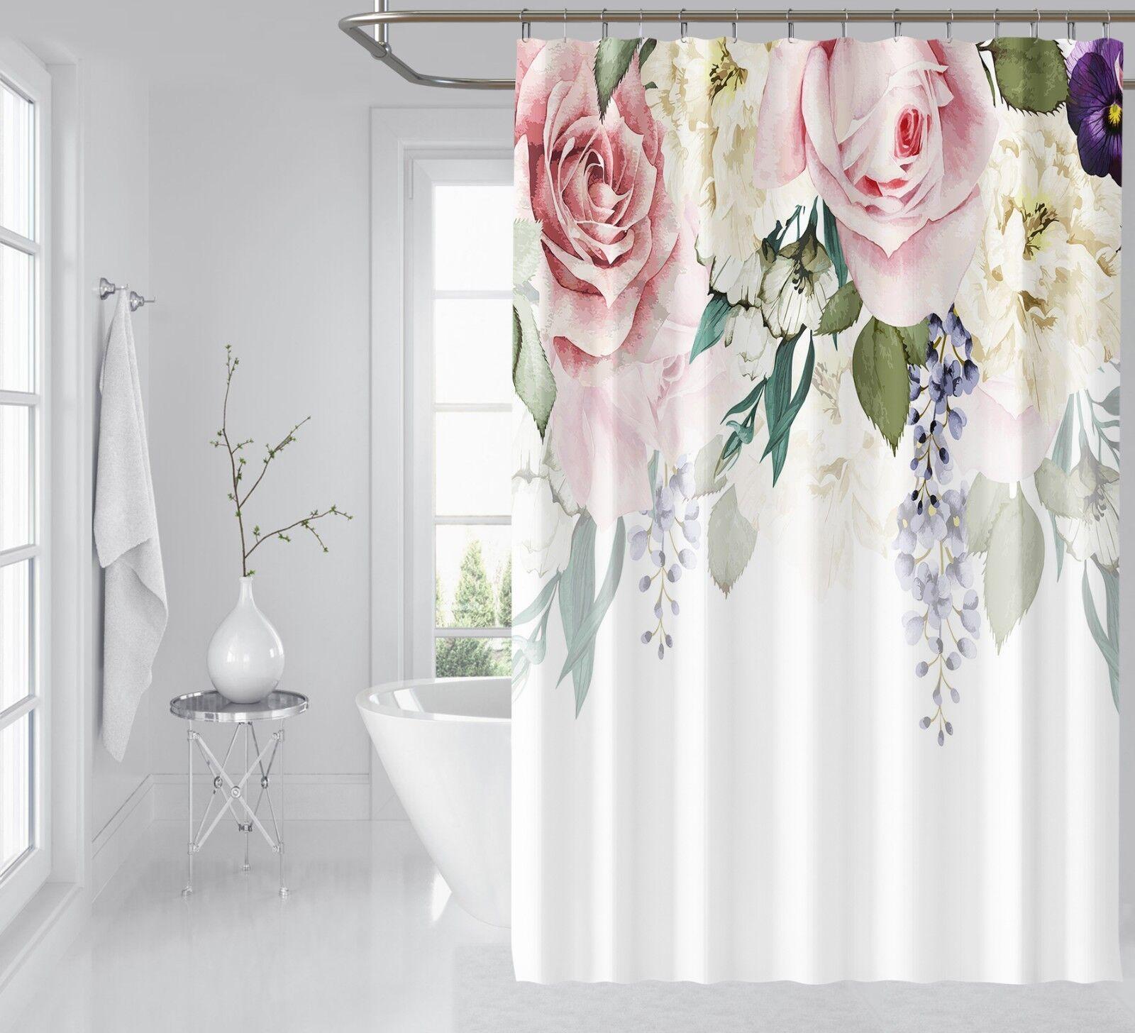 3D Jolies Fleurs 78 Rideau de Douche Imperméable Fibre Salle De Bain Windows Toilette