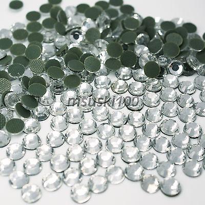 Hot Fix Glass Crystal Rhinestones Iron On Diamonds Flat Back Diamante Decoration