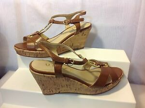 30c7fa2d5e7 UNISA Women s Brown Faux Leather Cork Wedge Heeled Sandals Size 7M ...