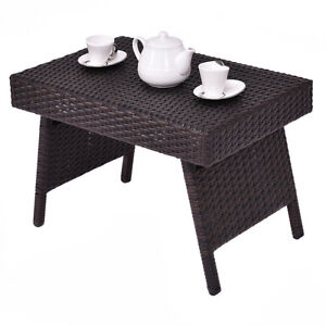 Image Is Loading Folding Wicker Rattan Side Coffee Table Patio Square