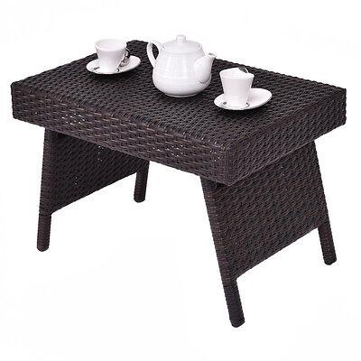 Folding Wicker Rattan Side Coffee Table Patio Square ...