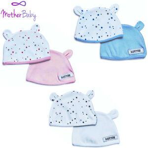 Baby-Hats-2-pack-set-Cotton-Pink-Blue-White-Newborn-0-3-3-6-months