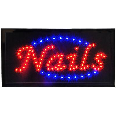 Bright Animated LED Nails Salon Spa Pedi Shop Store Open Sign 19x10 Display neon