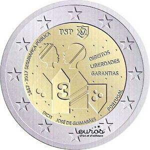 Piece-2-euros-commemorative-PORTUGAL-2017-Anniversaire-de-la-Securite-Publique