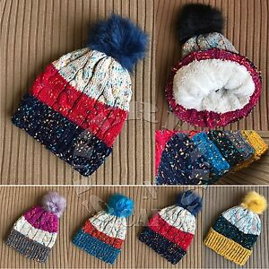 e0bc719ddc9 Image is loading Cable-Confetti-KnitThick-Beanie-Sherpa-Fleece-Lining-Faux-