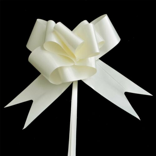 60 x 50mm Large Pull Bows Ivory Satin Ribbons Wedding Gifts Wrap Car Decorations