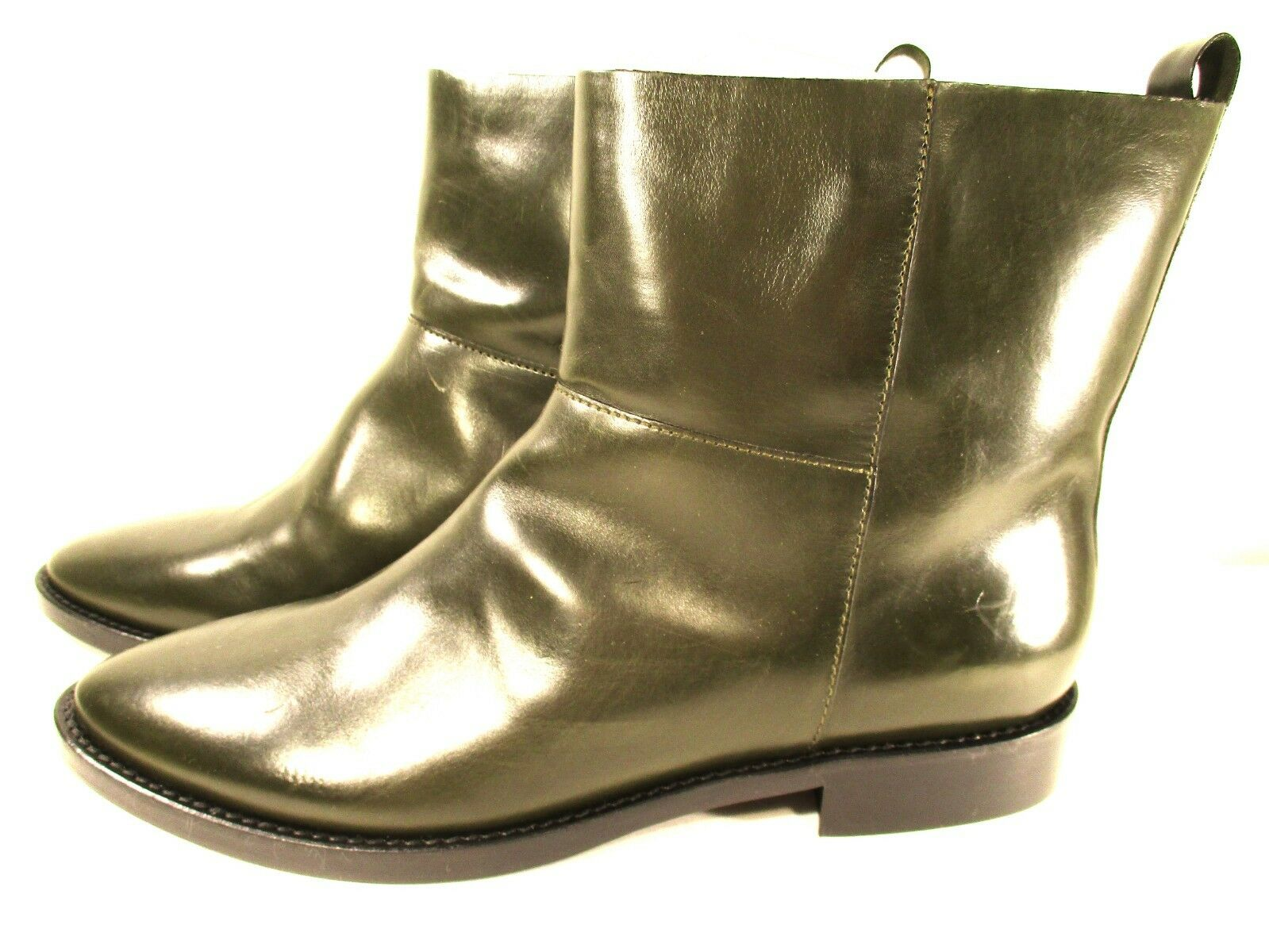 Theyskens' Theory Donna Flat Ankle Boots Sz 40 NWD 595 KHAKI