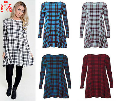 Women Long Sleeve Scoop Neck Flared Tartan Check Skater Swing Mini Dress UK 8-26