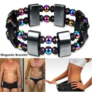 Weight-Loss-Black-Stone-Magnetic-Therapy-Bracelet-Hematite-Stretch-Health-Care