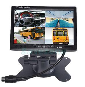 "12V-24V Car Rear View 7/"" LCD Monitor 4CH Quad Split Screen For BUS Truck Caravan"