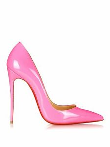 e3a6851ef63 Details about NIB Christian Louboutin So Kate Patent Leather Neige Neon  Pink 120mm Size 35.5