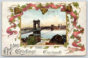 Cincinnati-Ohio-Art-Nouveau-Holiday-Greetings-Roebling-Suspension-Bridge-1912