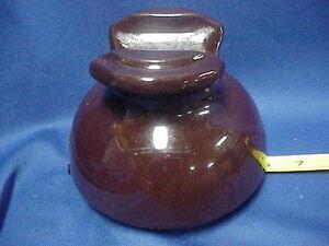 "Vintage/Antique Ceramic Brown electric pole Insulator 6"" Base"