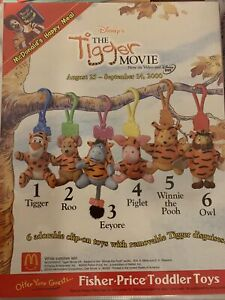 2000 McDonalds Tigger Movie MIP Complete Set - Lot of 6,- great backpack clips