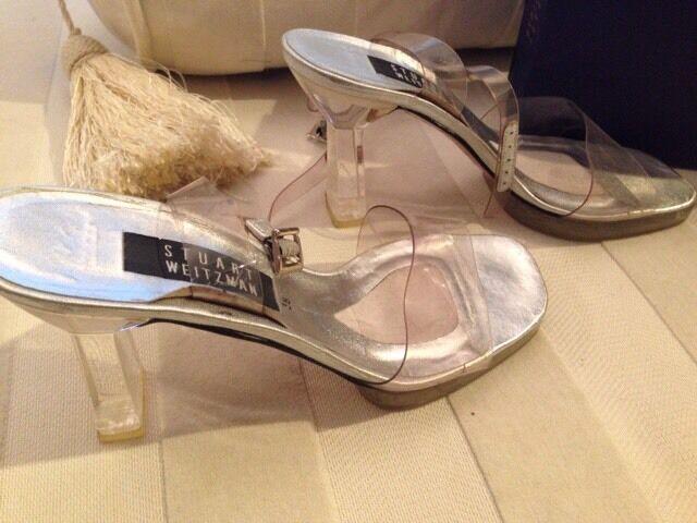 Luxus Marken Sandalen Stuart Weitzman  Schuhe 38 durchsichtig