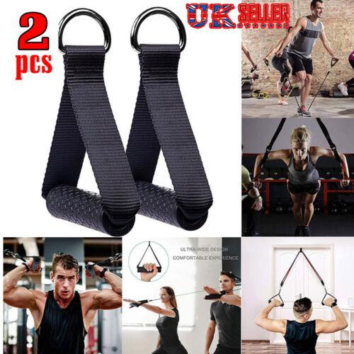 2x Heavy Duty Multi Gym Cable Machine Attachment Stirrup Handle Bar Resistanc