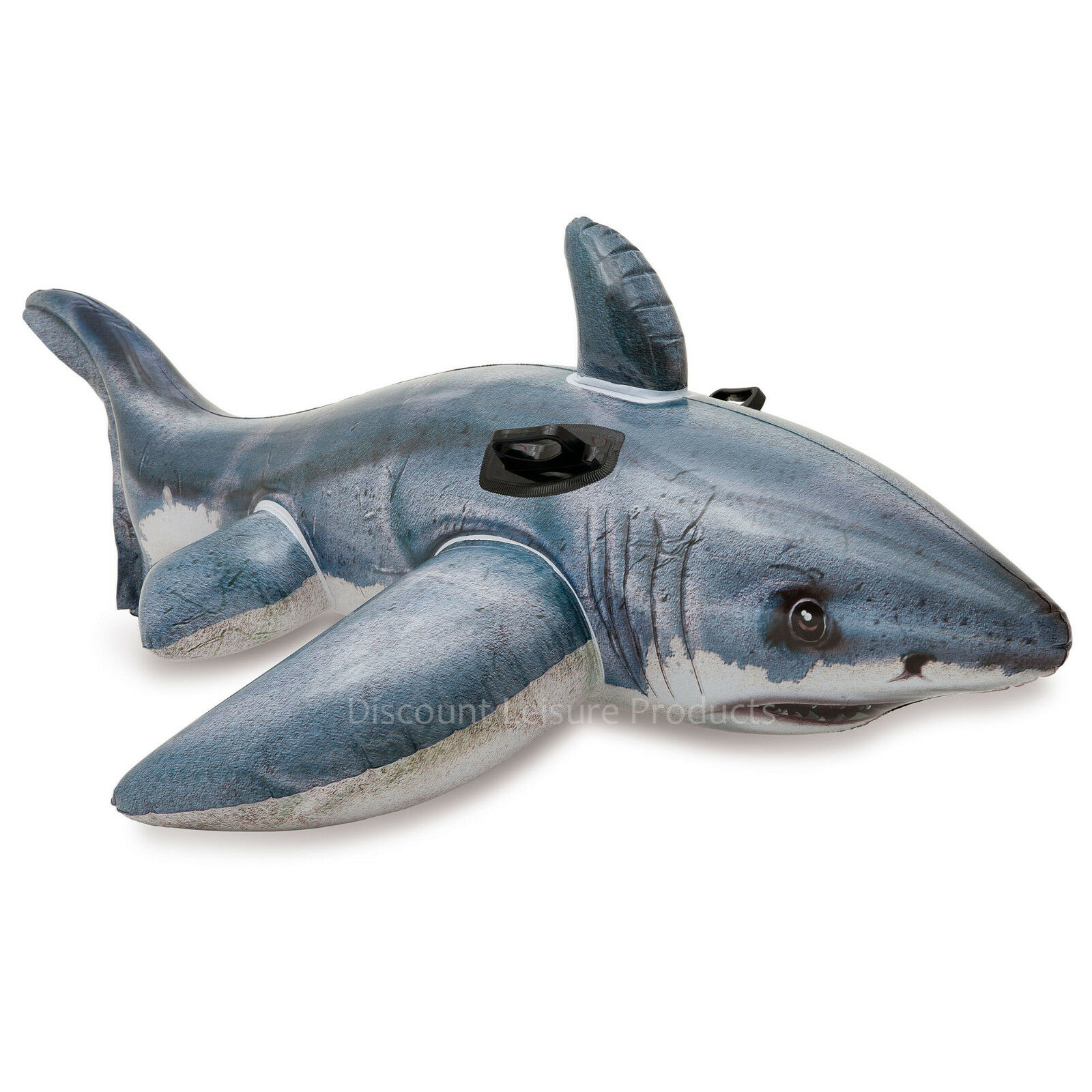 Intex Great White Shark Blow Up Inflatable Ride Sit On Swimming Pool Toy #57525