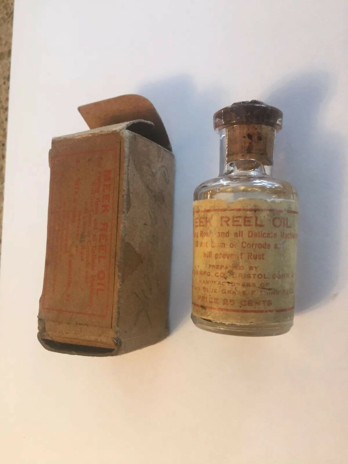 Rare B.F MEEK & SONS BAIT CASTING OIL BOTTLE AND BOX