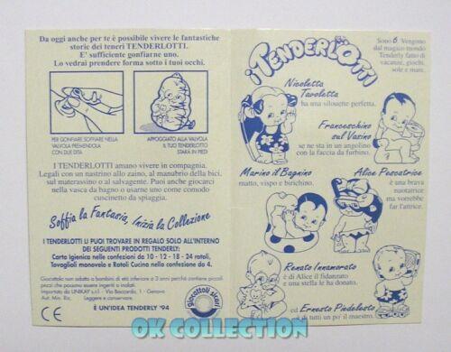 VECCHIO GADGET 1994 _ CARTONCINO PUBBLICITARIO COLLEZIONE TENDERLY TENDERLOTTI