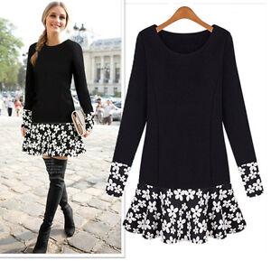 Vestito-Donna-Maniche-Lunghe-Woman-Dress-Long-Sleeves-Gonna-Fiori-A110034