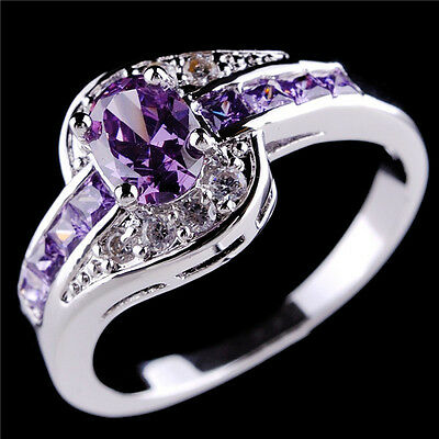 Size 6-10 Fashion Purple Lab Amethyst Engagement Rings Women's White Gold Filled