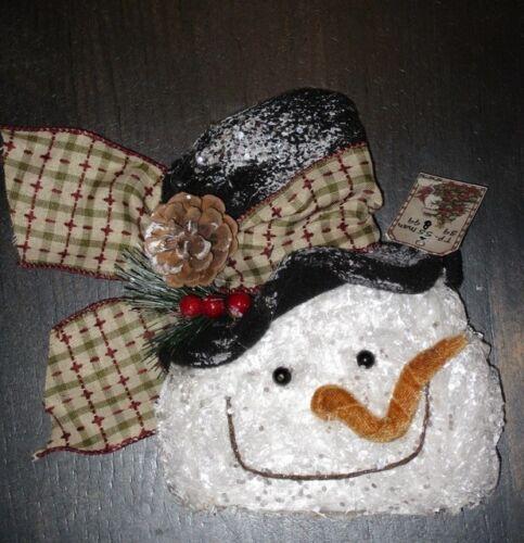 swag ap SALE GLITTER Crinkled FROSTY SNOWMAN HEAD sm.tree orn wreath