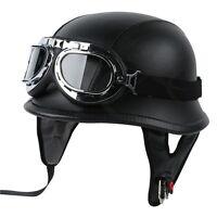 Dot Motorcycle German Style Black Leather Half Helmet W/pilot Goggles M/l/xl