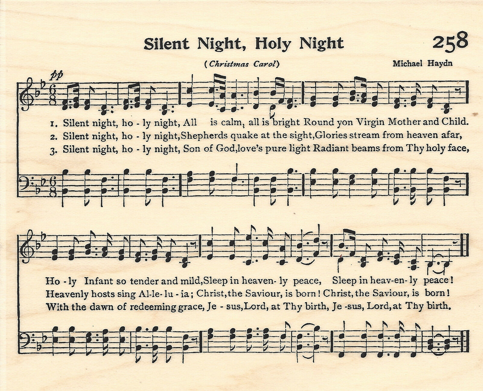 Silent Night Sheet Music Wood Mounted Stamp Impression Obsession ...